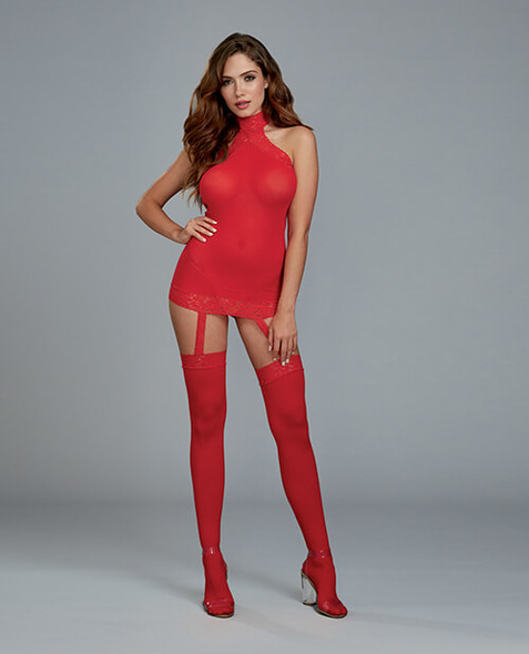 Red Dreamgirl Sheer Lace Trim Halter Dress with Garter Stockings