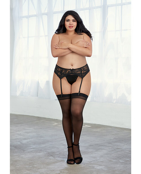 Queen Sheer Thigh Highs with Backseam - Black