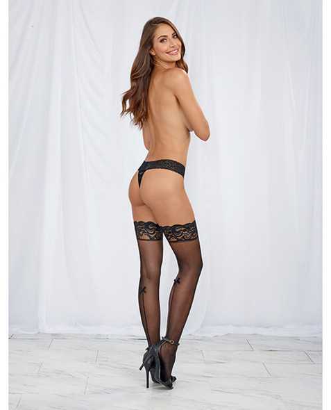 Seamed Stay Up Stockings with Lace and Bow Trim - Black
