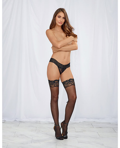 Seamed Stay Up Stockings with Lace and Bow Trim