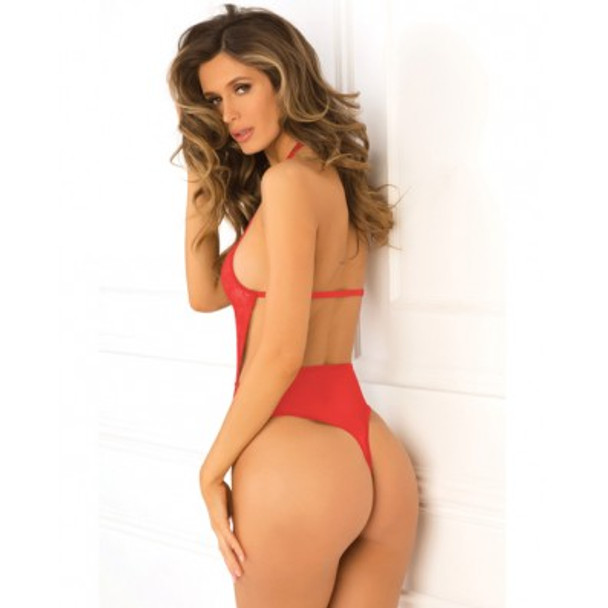Red Low Plunge Lace Center Strap Teddy