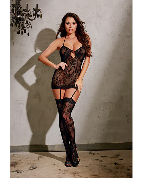Black Elegant Stretch Lace Low-Back Garter Dress from Dreamgirl
