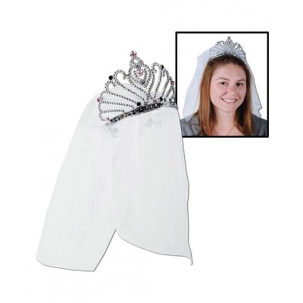 Bride To Be Party Veil with Tiara - White