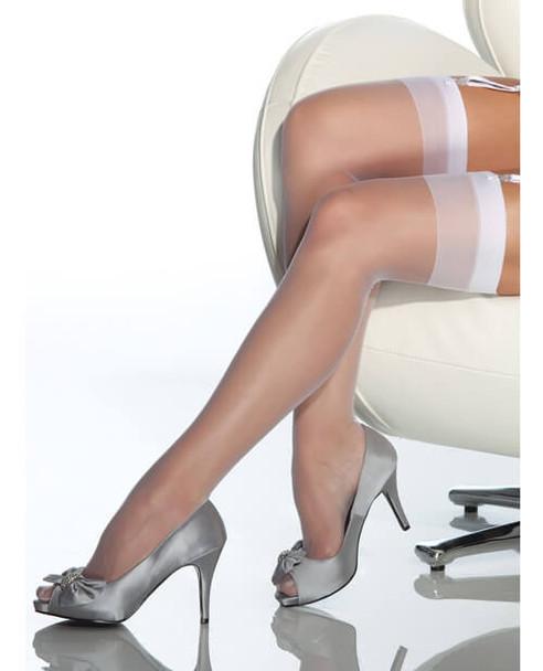 Coquette Sheer Thigh-High Stockings - White