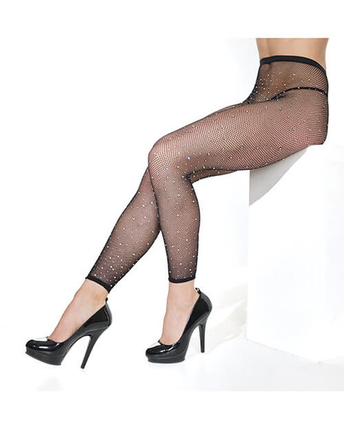 Coquette Rhinestone Fishnet Footless Pantyhose - Black