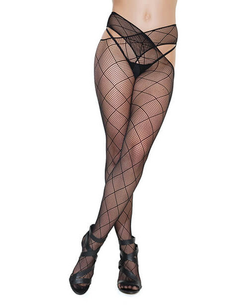 Coquette Diamond Fishnet Pantyhose with Criss-Cross Waist - Black