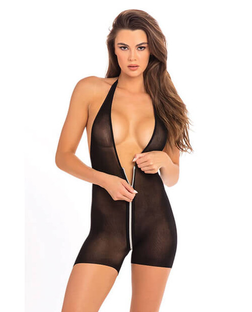 Rene Rofe Black Sheer Zip Bodysuit with Bike Shorts