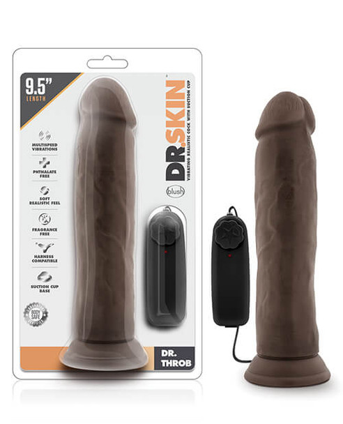"""Blush Dr. Skin Dr. Throb 9.5"""" Cock with Suction Cup - Chocolate"""