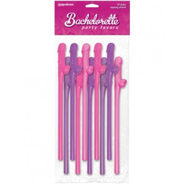 Multi-colored Dicky Sippy Straws - Pink and Purple