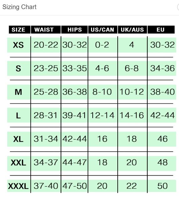 Contour Harness Size Chart