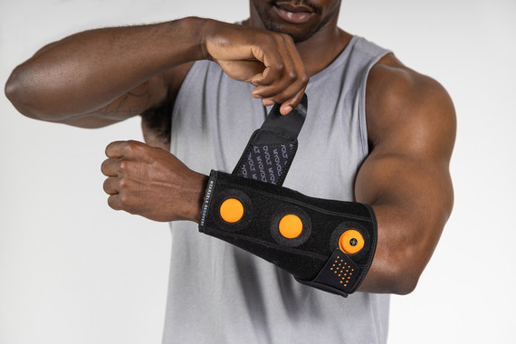 Myovolt wearable sports rehab technology delivers targeted vibration therapy to forearms, wrists and elbows to ease repetitive strain and relax tension after overuse of arms.