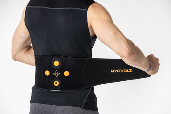 Myovolt wearable sports rehab technology relieves lower back soreness and stiffness with localized vibration therapy that wraps around the body.