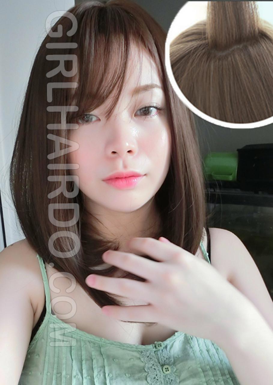 6104 Medium Length Premium Skin Wig Ultra Soft Korean Style