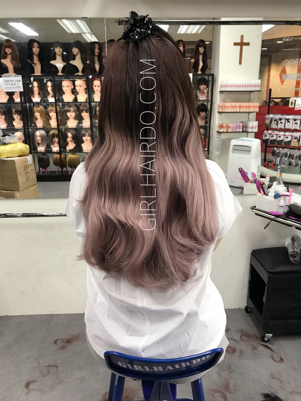 Crown U Shape Hair Extensions Super Thick Ombre Pastel Pink Dark