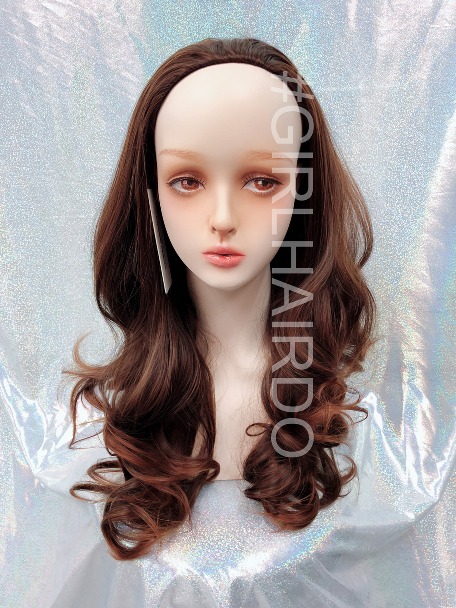H9072 230 Honey Brown Partial Wig Long Curly