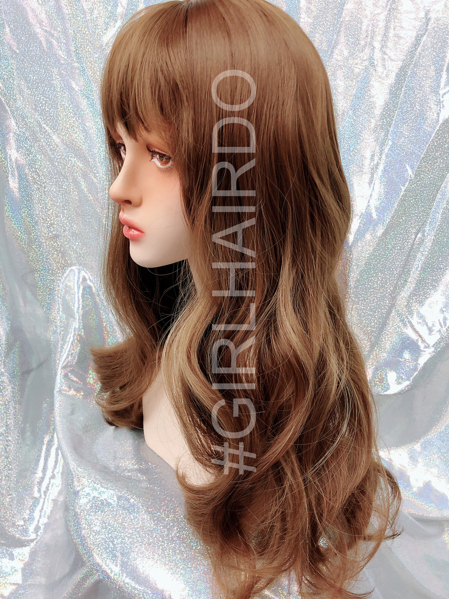 G8201 Honey Brown Highlights Curly Wig With Bangs