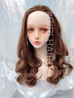 H9072/12 Japanese partial wig Long sexy curly light milky brown