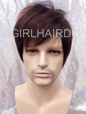 M3807 Choco brown men wig stylable Korean style