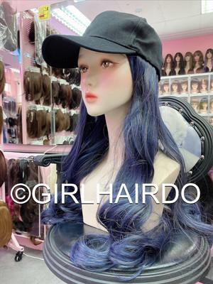 CAP WITH HAIR BLUE