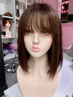 Soft brown premium human hair with bangs and scalp hairline