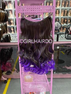 Purplish hair extensions