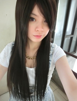 girlhairdo straight wig with long swept fringe. heat friendly, non shiny and realistic fiber. available in many colours.