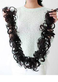 LONG NATURAL BLACK SOFT NON SHINY REALISTIC HAIR FOR TYING BUN/PONYTAIL/VOLUME