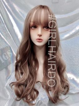 Pastel pink Long Korean style Long soft curls skin wig