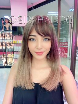12m Bubble milk tea medium wig