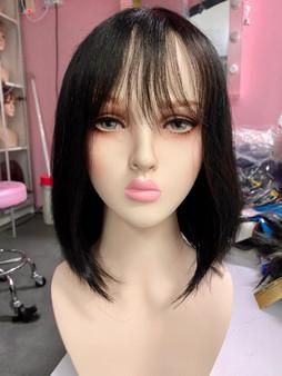 Human hair Long bob black premium with hair line scalp
