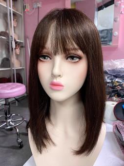 Premium human hair shoulder length brown wig