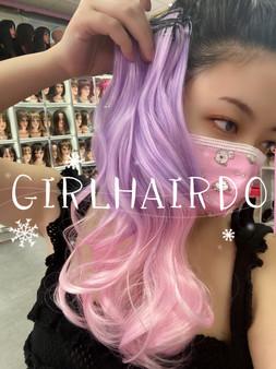Purplish pink hair extensions