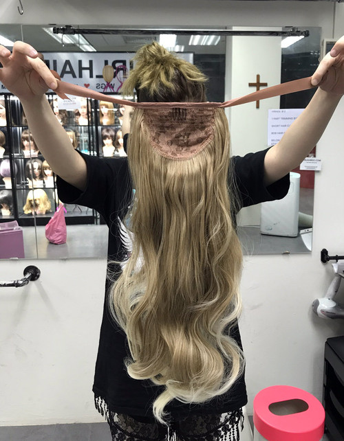 #1379 blonde ponytail thick and soft and natural (watch video)