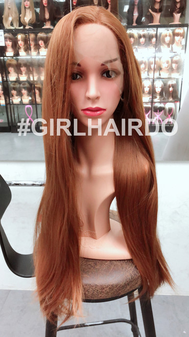 Orange brown Long straight lace front wig