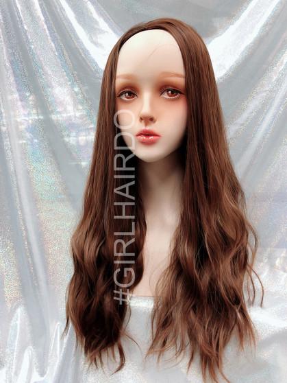 H5015230 light honey brown soft water wave wavy partial Long wig premium