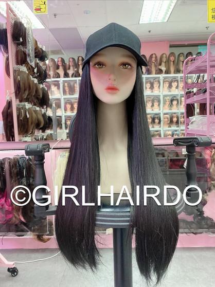 CAP WITH HAIR BLACK REBONDED