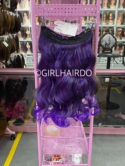 Purplish hair extensions
