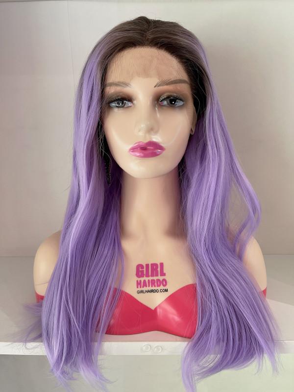 Free parting purple wig
