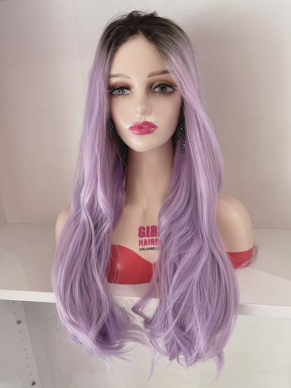 Long purple free parting wig