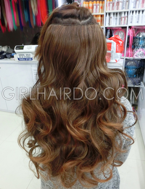 #005W  LIGHT BROWN COLOUR #230 CURLY HAIR EXTENSIONS ( WATCH DEMO VIDEO INSIDE)