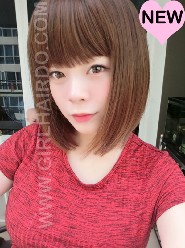 #7809G fringe bangs ultra soft non shiny wig ( available in black, dark brown, light brown)