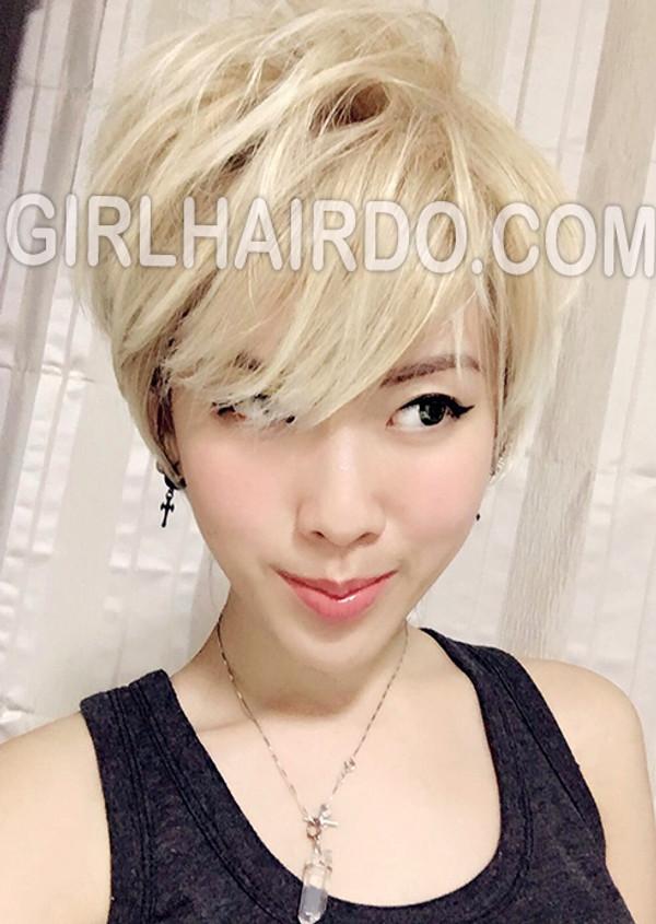 #3807 short spunky blonde wig