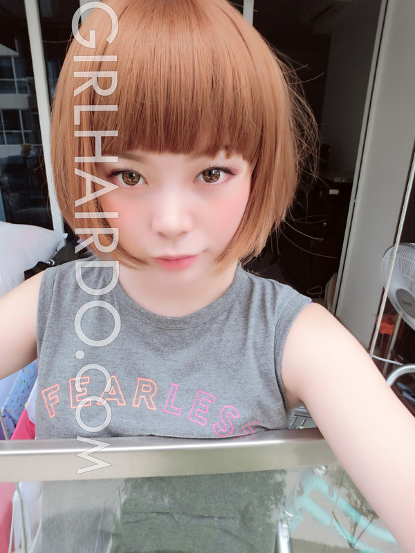#3864 short edgy bob wig with bangs premium ultra soft bright colour
