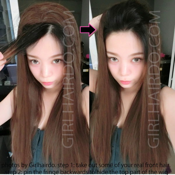#5008 rebonded long very straight 3/4 wig