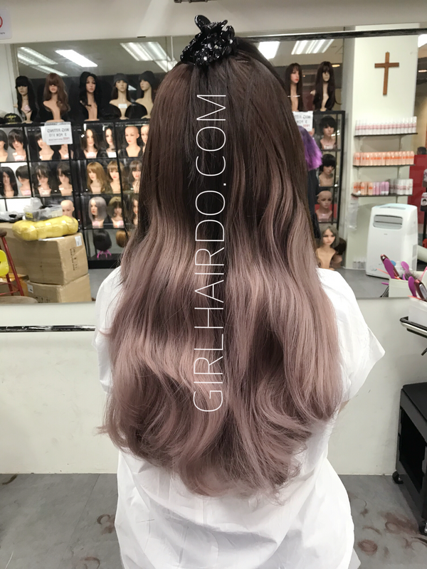 Crown U shape hair extensions Super thick ombré pastel pink ( dark brown top ombre pastel pink bottom) *watch video