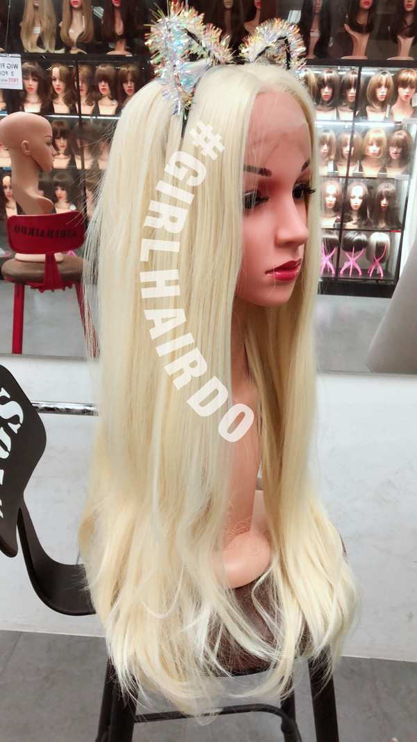 Platinum blonde Long wavy soft curls lace front wig