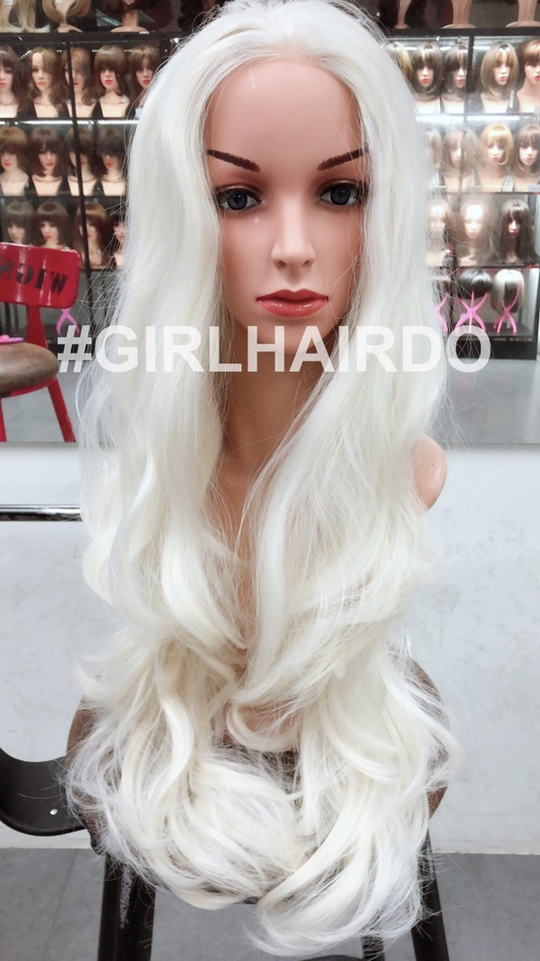 White blonde curls soft lace front wig