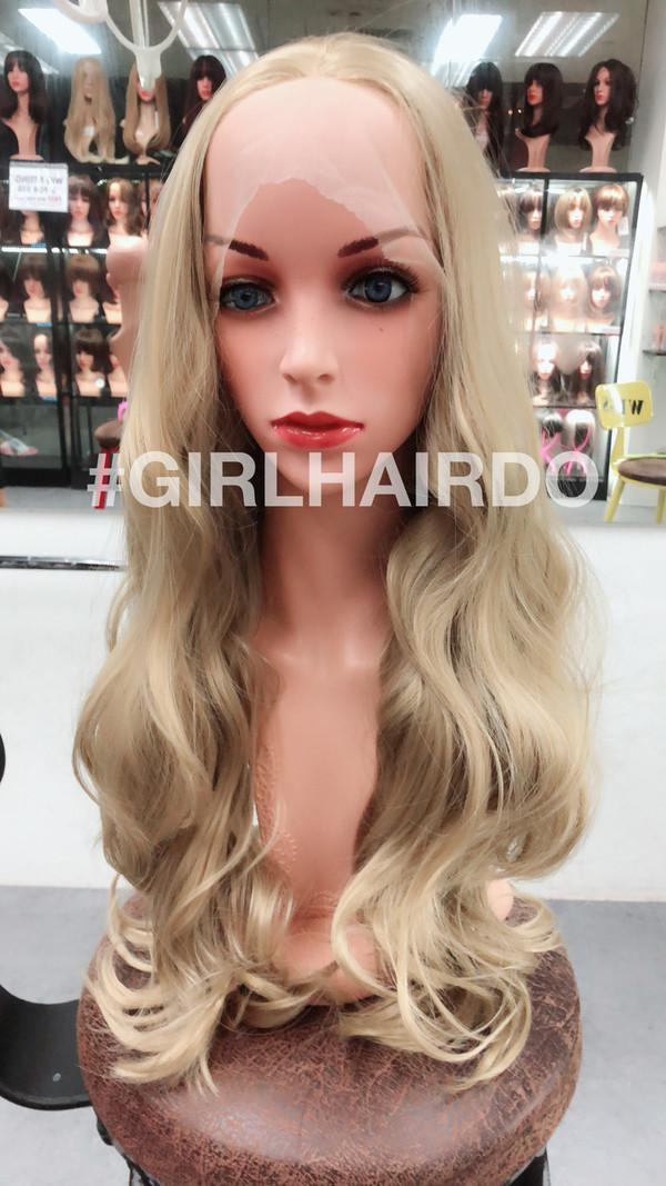 Ash brown blonde soft curls lace front wig
