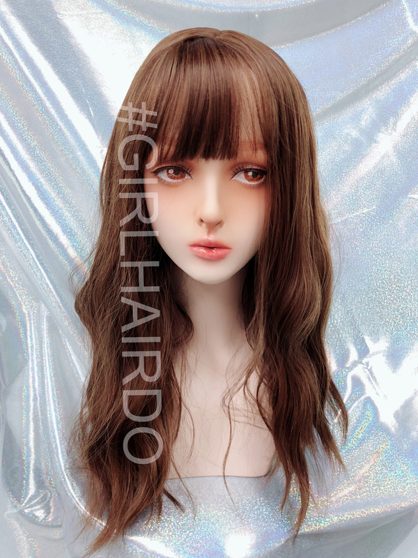 k7618 light brown Japanese permed skin wig