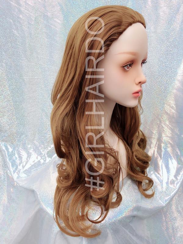 H9072/27 light golden brown Long Japanese partial wig soft curls